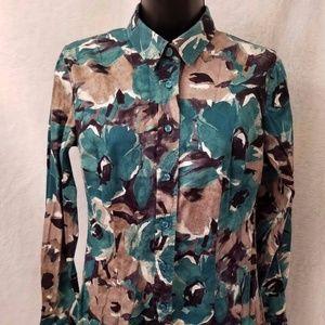New York & Company Multi Color Button Down Shirt